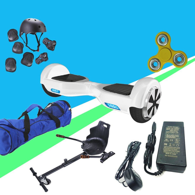 6.5  White classic Hoverboard + Hoverkart Bundle - 30% sale Offer - Segwayfun