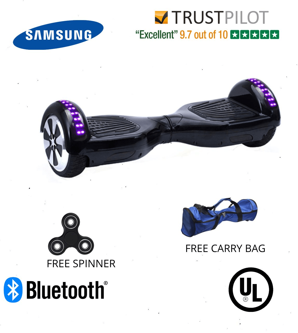 2018 Black App Enabled Disco 6.5 Inch Hoverboard for Sale UK with Samsung Battery - Segwayfun