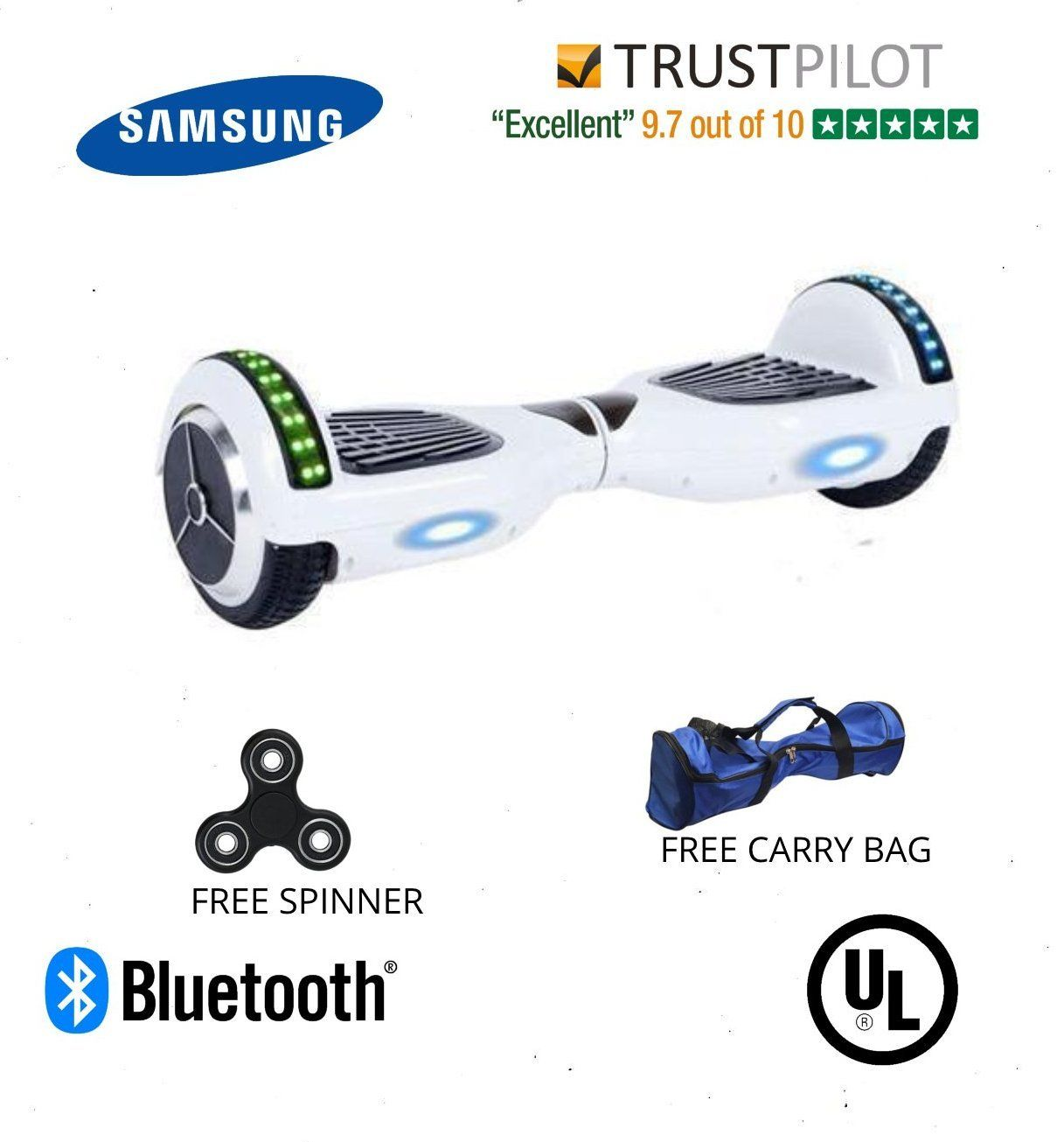 2018 APP ENABLED 6.5 Inch White Classic Hoverboard Disco Samsung --- for Sale UK - Segwayfun