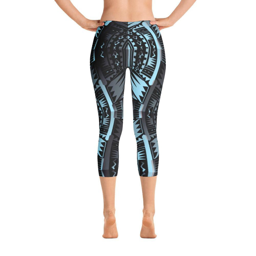 Tefiti Tribal Tattoo Capri Leggings