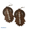 Personalized wooden dangling earrings with name - Myralena
