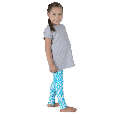Kid's Tefiti Tribal Tattoo Legging (Ocean Blue/White)