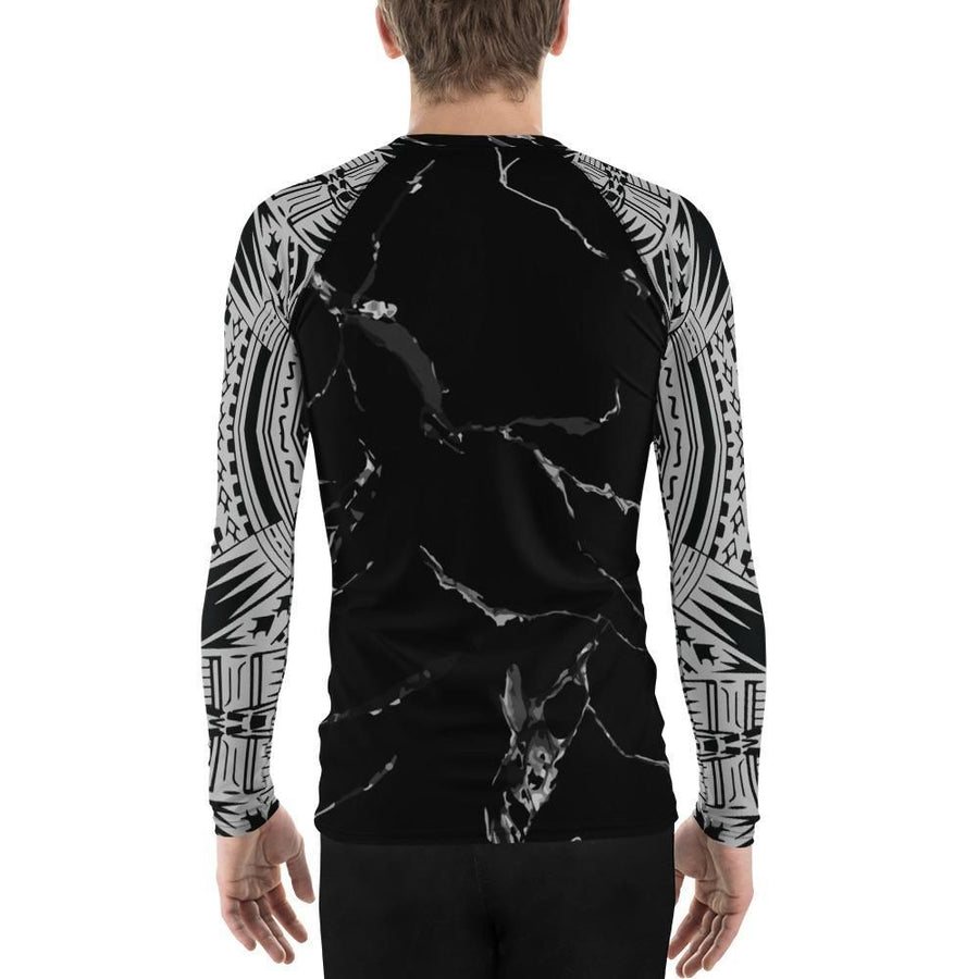 Marble Pattern Tribal Men's Rash Guard