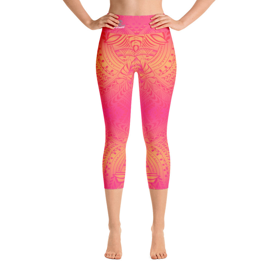 Sunset Yoga Capri Tattoo Leggings - HamoPride