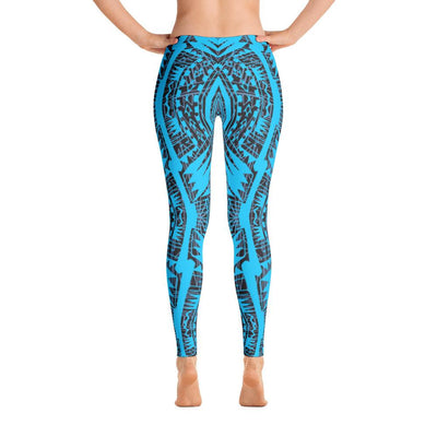 Tefiti Tribal Tattoo Legging (Neon Blue)