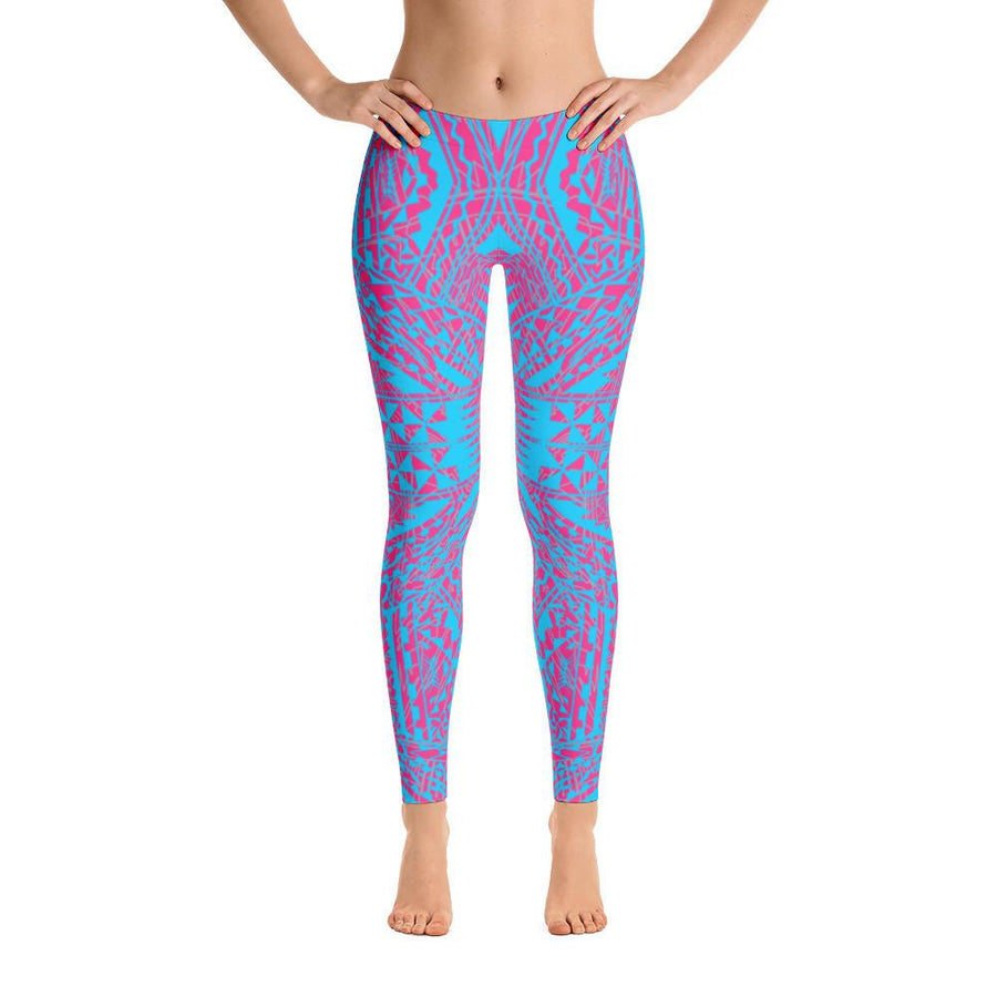 Tefiti Tribal Tattoo Legging (Neon Pink Ocean Blue) - HamoPride