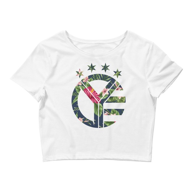 Floral Whiskey Riff Symbol Women's Crop Top Tee