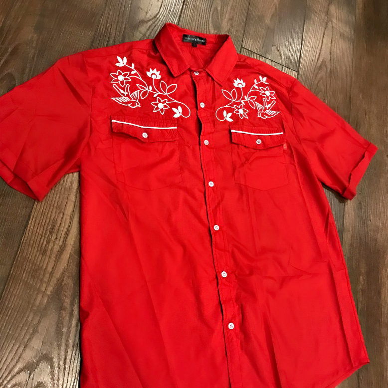 Whiskey Riff Western Embroidered Men's Shirt