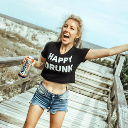Happy Drunk Crop Top Tee