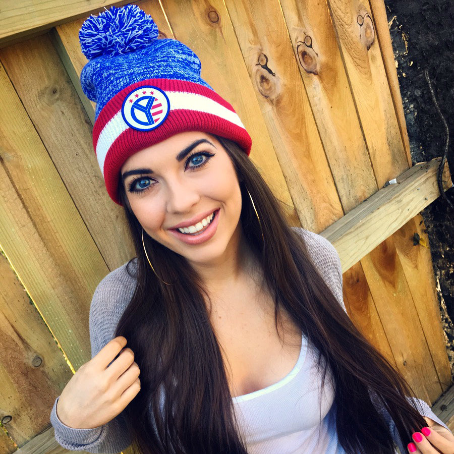 Red, White, & Blue Whiskey Riff Pom Beanie