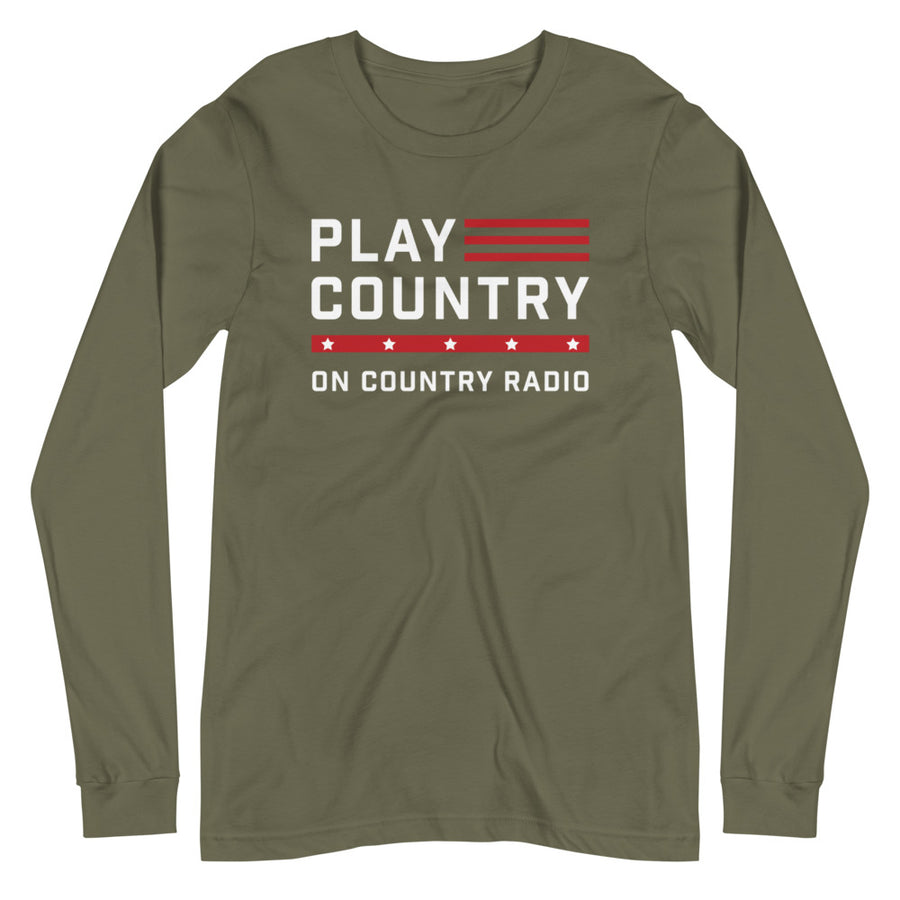 Play Country On Country Radio Military Green Long Sleeve Tee