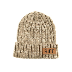 RIFF Knit Beanie with Leather Patch