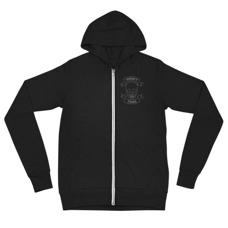 Honky Tonk Skull Lightweight Zip-Up Hoodie