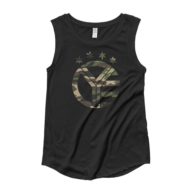 Camo Whiskey Riff Women's Cap Sleeve Tank Top