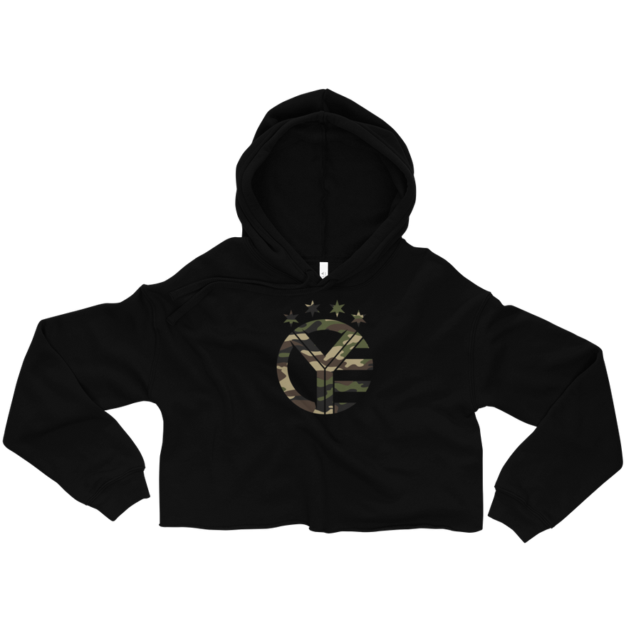 Camo Whiskey Riff Women's Fleece Crop Hoodie