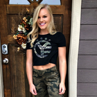 Camo Whiskey Riff Symbol Women's Crop Top Tee