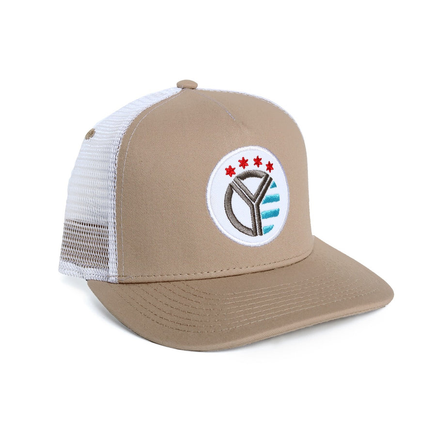 The Red, White, & Blue Whiskey Riff Khaki Trucker