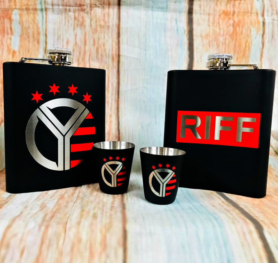 Whiskey Riff Flask and Shot Glass Set