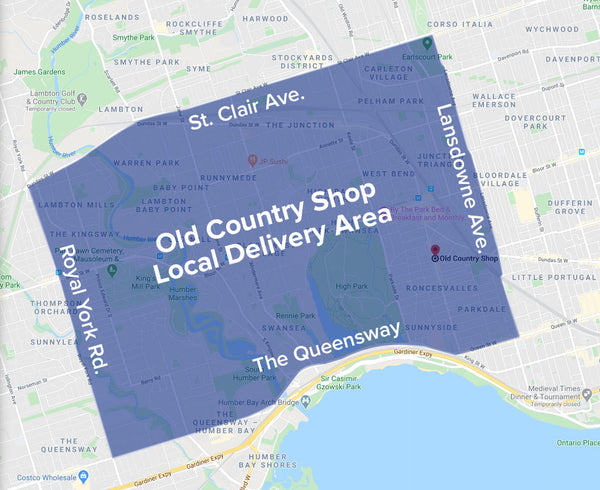Old Country Shop Local Delivery Map