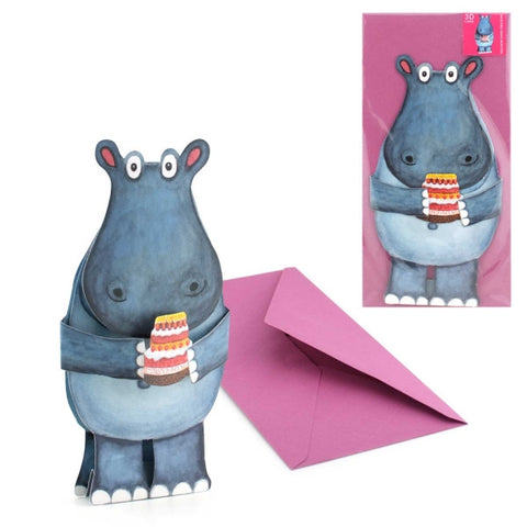 3D Animal Card - Hippo with Cake