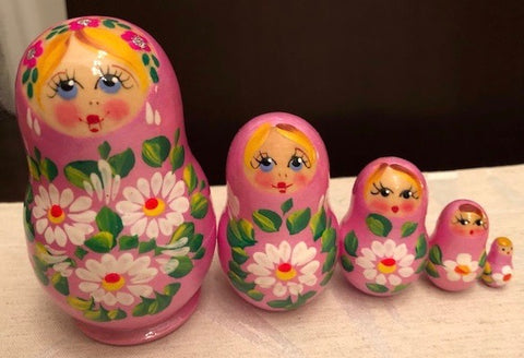 Pink Floral Nesting Dolls - set of 5
