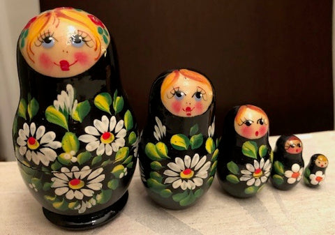 Black Floral Nesting Dolls - set of 5