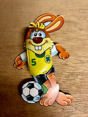 Easter Bunny playing soccer