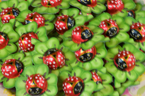 Solid Milk Chocolate Ladybug on a Clover
