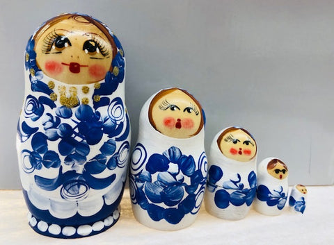 Blue and White Matte Nesting Dolls - set of 5