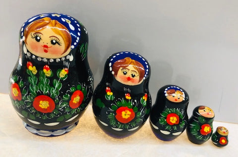 Black and Red Floral Nesting Dolls - set of 5