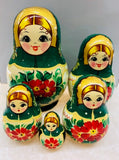 Green with Red Floral Nesting Dolls - set of 5