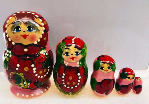 Pink with Red Floral Nesting Dolls - set of 5