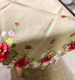 Poppies and Daisy Light Green Table Topper