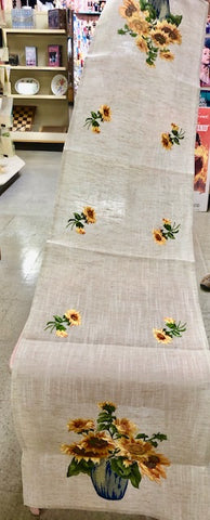 Sunflowers Linen Table Runner Long