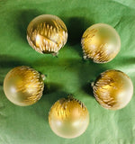 Handmade Frosted and Gold Large Glass Tree Ornaments