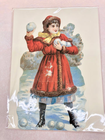 Girl Throwing Snowballs Card