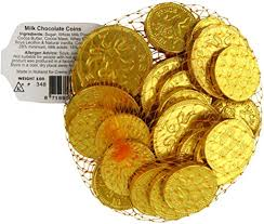 Solid Chocolate Coins in Net