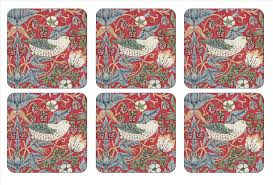 William Morris Red Strawberry Thief Coasters