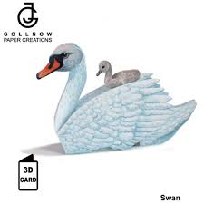 3D Animal Card - Swan and baby
