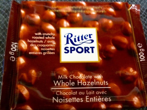 Ritter Sport Milk Chocolate with whole Hazelnuts bar