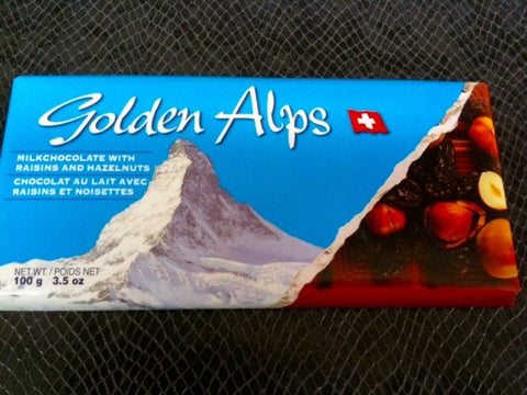 Golden Alps Milk Chocolate with Raisins and Hazelnuts bar