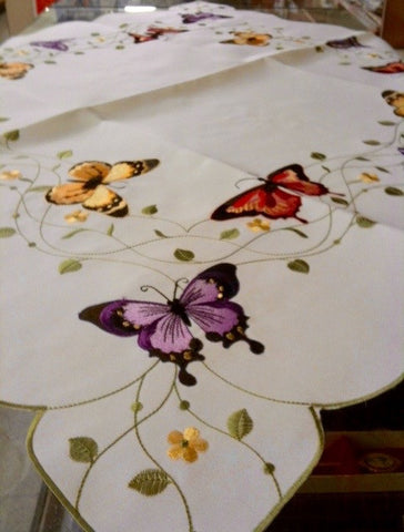 "Butterfly Tablecloth 36"" x 36"""