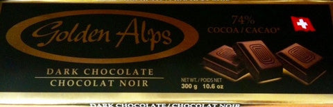 Golden Alps 74% Cocoa Swiss Dark Chocolate Bar