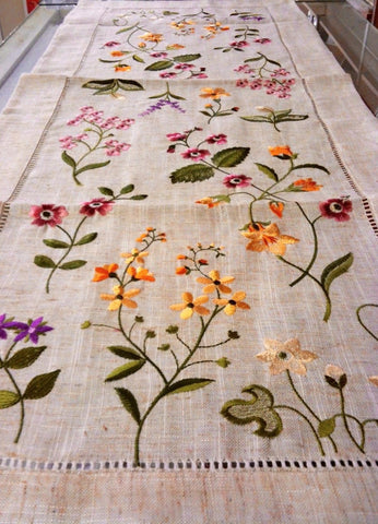 "Wild Flowers Linen Table Runner 16""x 54"""