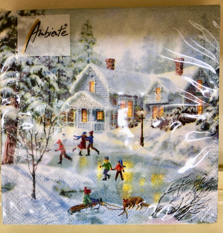 Winter on the Pond Lunch Napkins