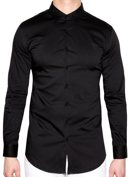Slim Fitted Dress Shirt - Black