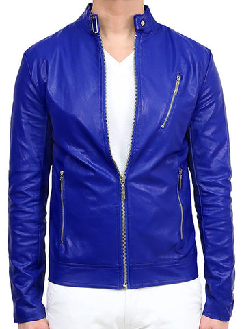 Biker Leather Jacket - Deep Blue