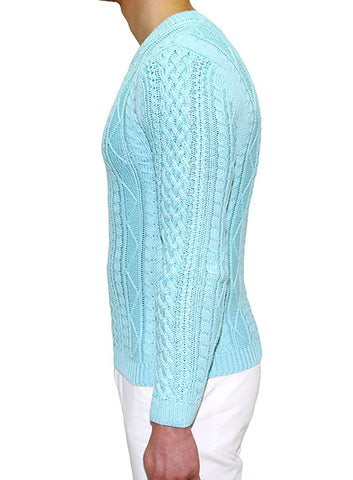 European Cable Knit - Ice Blue