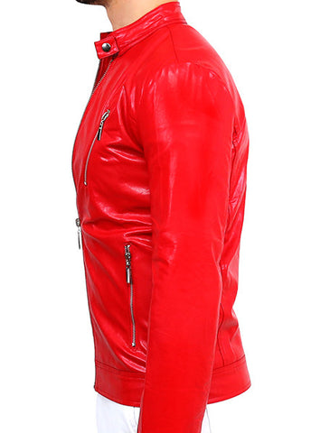 Biker Leather Jacket - Deep Red