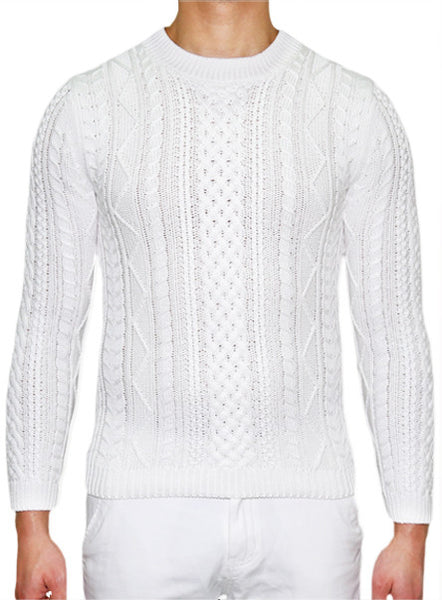 European Cable Knit - White
